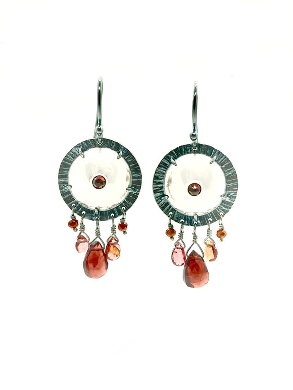 Sterling Silver Shield Earrings with Garnet & Carnelian