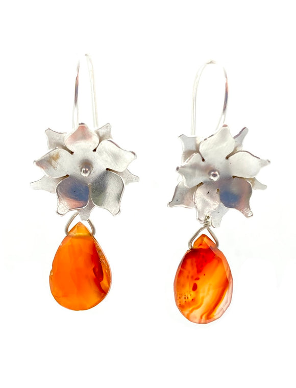 Sterling Silver Floral Drop Earrings with Carnelian