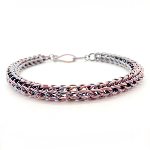 Handmade Foxtail Chainmaille Bracelet in Oxidized Copper