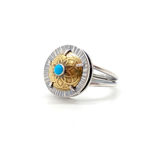 Turquoise Shield Ring in Sterling Silver & Brass, Size 8.75
