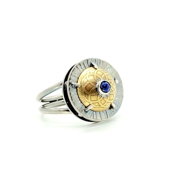 Lapis Lazuli Shield Ring in Sterling Silver & Brass, Size 7.25