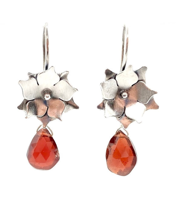 Sterling Silver Floral Drop Earrings with Garnet