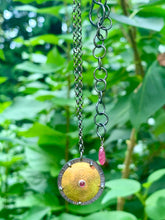 Load image into Gallery viewer, Brass Shield Pendant with Rhodolite Garnet & Ruby & Sterling Silver Adjustable Chain
