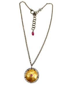 Brass Shield Pendant with Rhodolite Garnet & Ruby & Sterling Silver Adjustable Chain