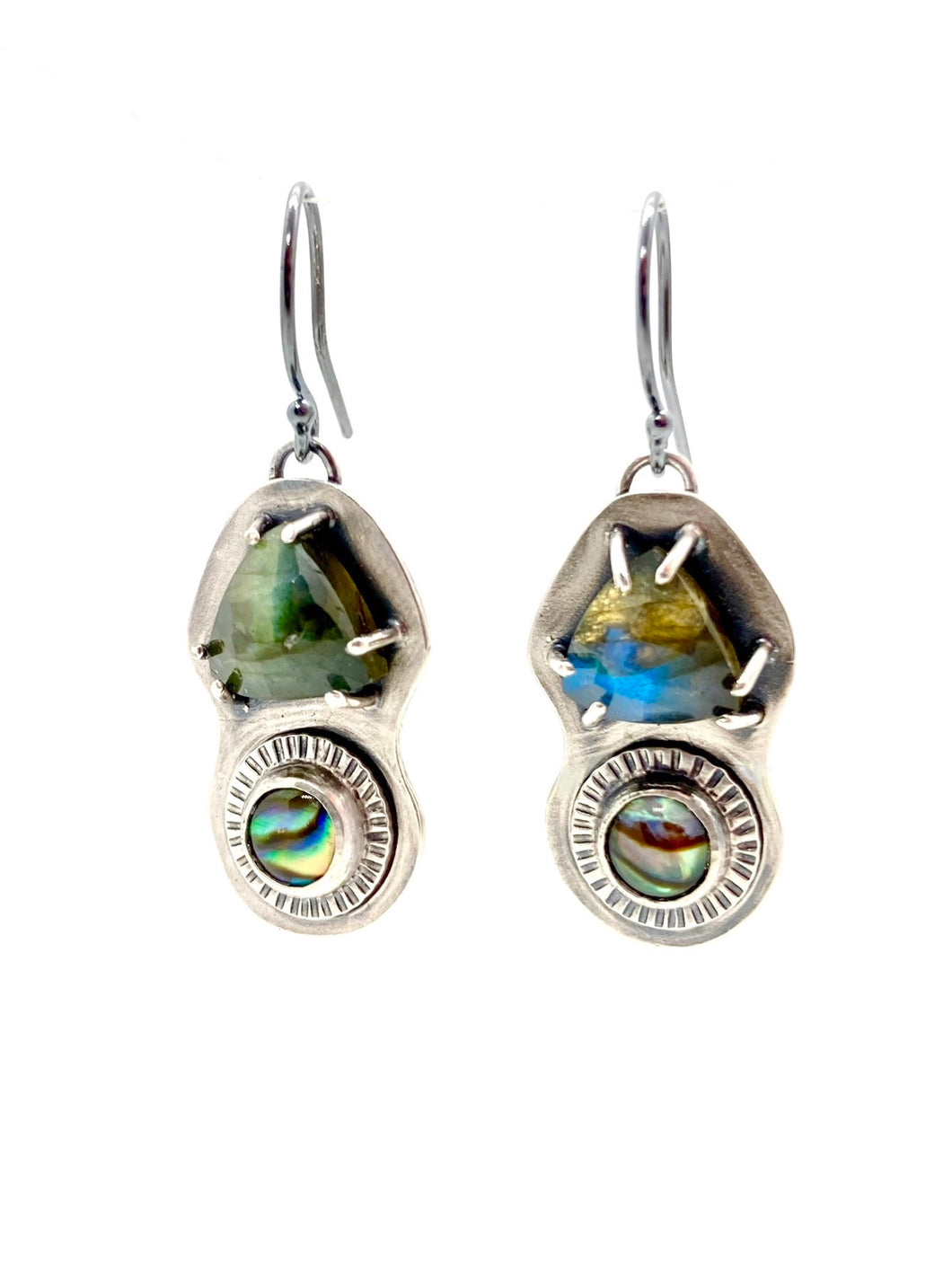Labradorite and Abalone Earrings in Sterling Silver