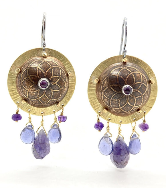 Brass Shield Earrings with Amethyst, Tanzanite, & Iolite with Sterling Silver Earwires