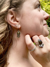 Load image into Gallery viewer, Labradorite and Abalone Earrings in Sterling Silver