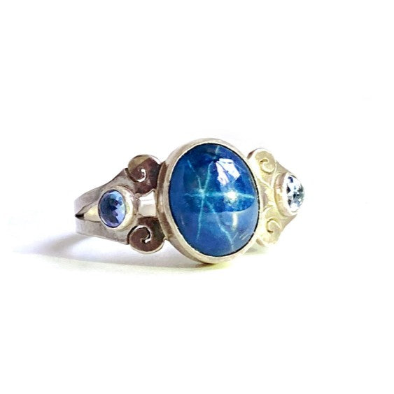 Star Sapphire & Tanzanite Ring in Sterling Silver, Size 6