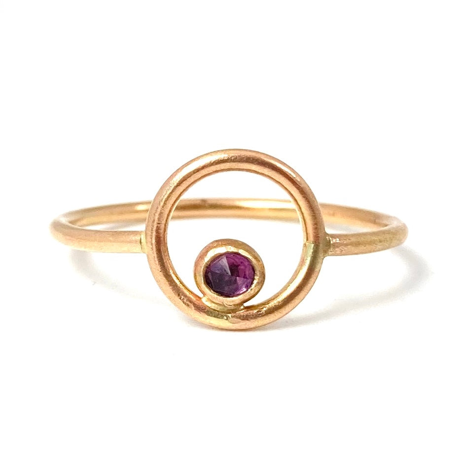 14K Orbit Ring with Your Choice of Gemstone