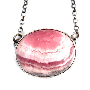Sterling Silver Rhodochrosite Necklace with Ruby Adjustable Chain Accent