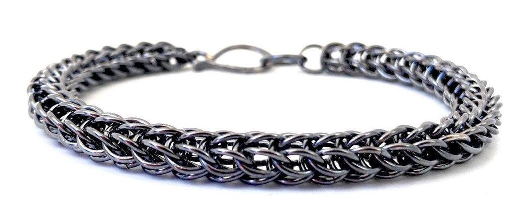 Handmade Oxidized Foxtail Chainmaille Bracelet in Sterling Silver