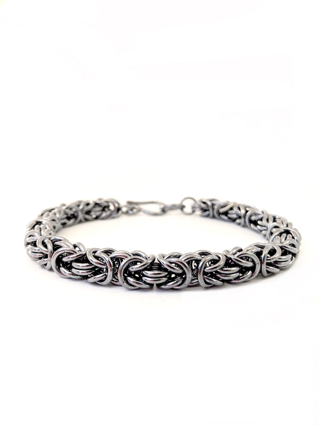 Handmade Oxidized Chunky Sterling Silver Byzantine Chainmaille Bracelet