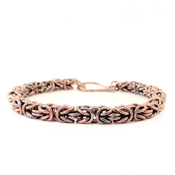 Handmade Chainmaille Byzantine Bracelet in Oxidized Copper