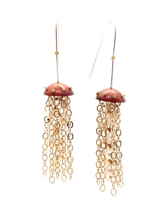 Red Copper Jellyfish Chain Earrings with Pearls and Sterling Silver Earwires