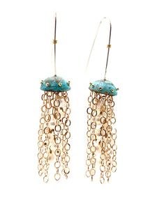 Green Copper Jellyfish Chain Earrings with Pearls and Sterling Silver Earwires