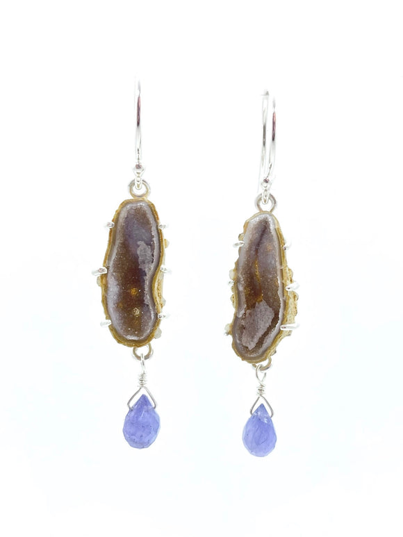 Geodina & Tanzanite Earrings in Sterling Silver