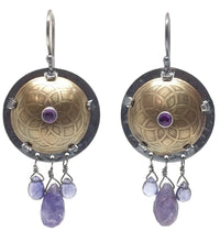 Load image into Gallery viewer, Brass Shield Earrings with Amethyst, Tanzanite, Iolite, & Sterling Silver Earwires