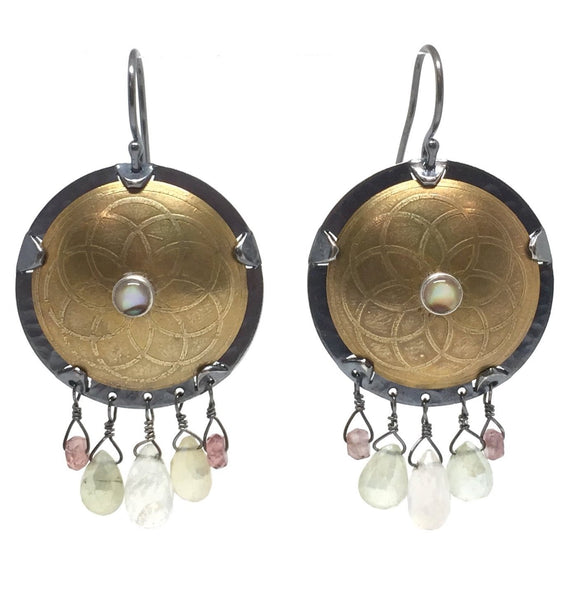 Brass Shield Earrings with Abalone, Moonstone, Peridot, Tourmaline & Sterling Silver Earwires