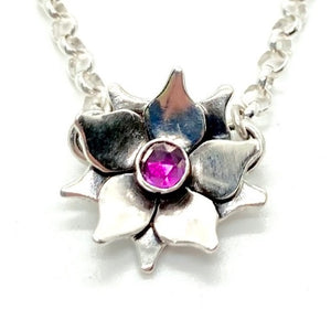Flower Necklace in Sterling Silver with Your Choice of Gemstone