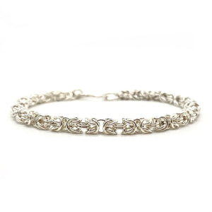 Handmade Silver Delicate Chainmaille Byzantine Bracelet
