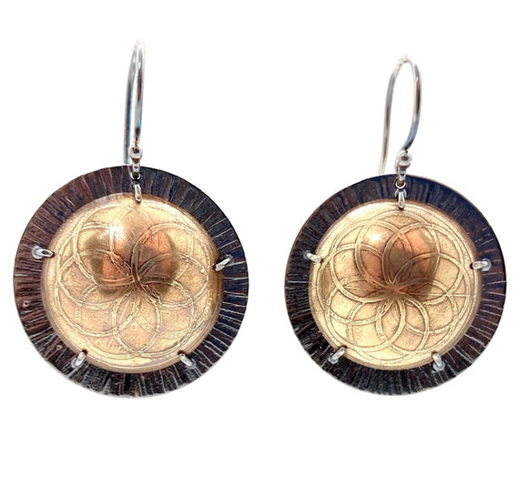 Brass and Sterling Silver Shield Earrings