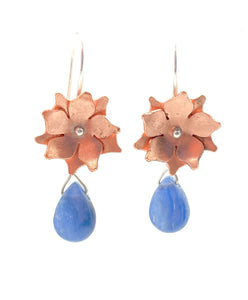 Copper Floral Drop Earrings with Kyanite and Sterling Silver Earwires
