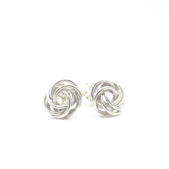 Bird Nest Stud Earrings in Sterling Silver