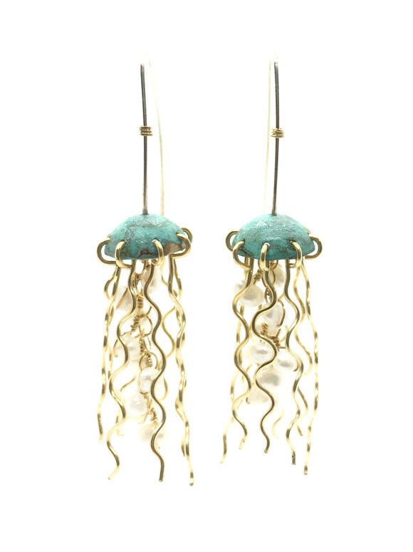 Green Copper Jellyfish Earrings with Pearls and Sterling Silver Earwires