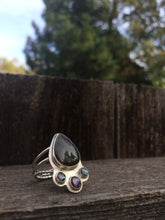 Load image into Gallery viewer, Labradorite & Abalone Ring in Sterling Silver, Size 7.5