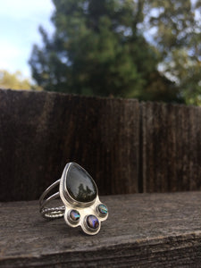 Labradorite & Abalone Ring in Sterling Silver, Size 7.5