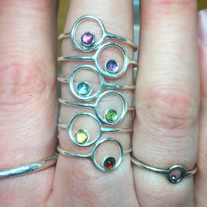 Sterling Silver Orbit Ring with Your Choice of Gemstone