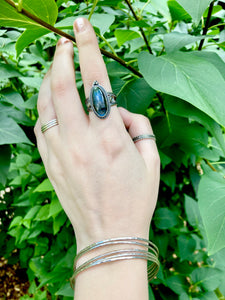 Ornate Labradorite & Abalone Ring in Sterling Silver