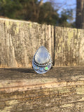 Moonstone & Opal Aziza Ring in Sterling Silver, Size 7.25