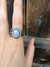 Load image into Gallery viewer, Moonstone, Abalone, & Amethyst Asymmetrical Ring in Sterling Silver, Size 8.5