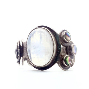 Moonstone, Abalone, & Amethyst Asymmetrical Ring in Sterling Silver, Size 8.5