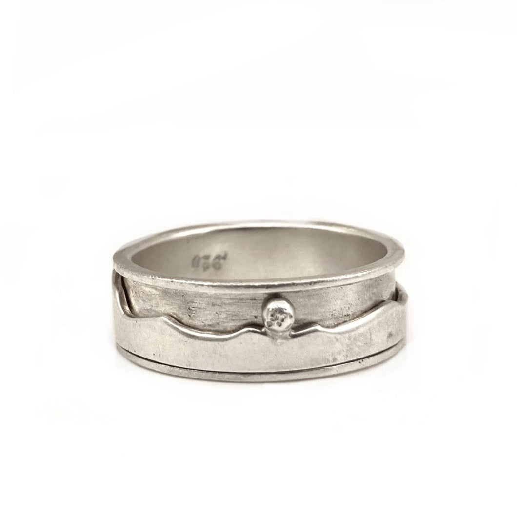 Mt. St. Helena Spinner Ring in Sterling Silver with 14k Gold Sun