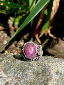 Floral Asymmetrical Ruby & Rhodolite Garnet Ring in Sterling Silver