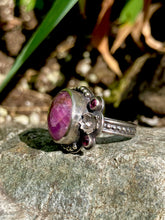 Load image into Gallery viewer, Floral Asymmetrical Ruby & Rhodolite Garnet Ring in Sterling Silver, Size 7.25