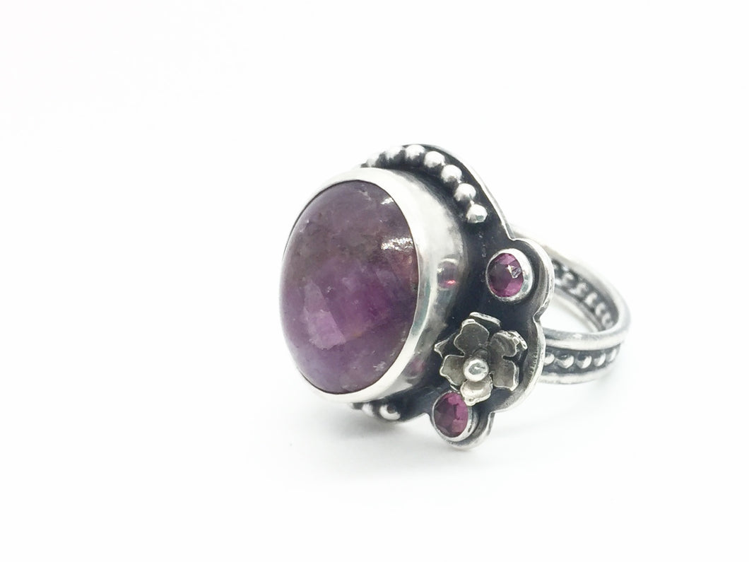 Floral Asymmetrical Ruby & Rhodolite Garnet Ring in Sterling Silver, Size 7.25