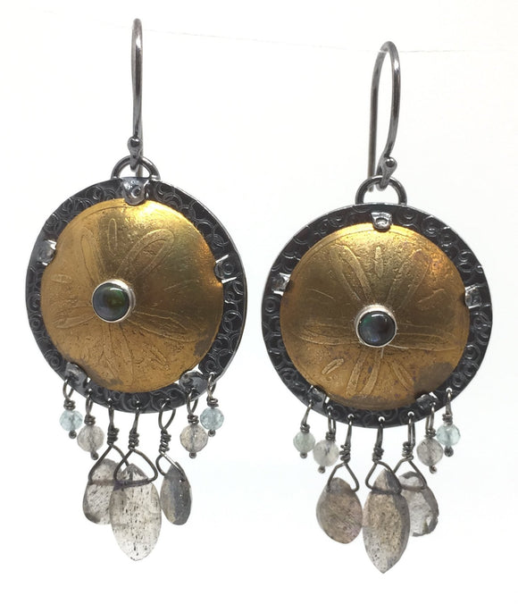 Brass Shield Earrings with Labradorite, Chalcedony, Abalone, & Sterling Silver Earwires