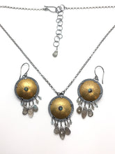Load image into Gallery viewer, Brass Shield Earrings with Labradorite, Chalcedony, Abalone, & Sterling Silver Earwires