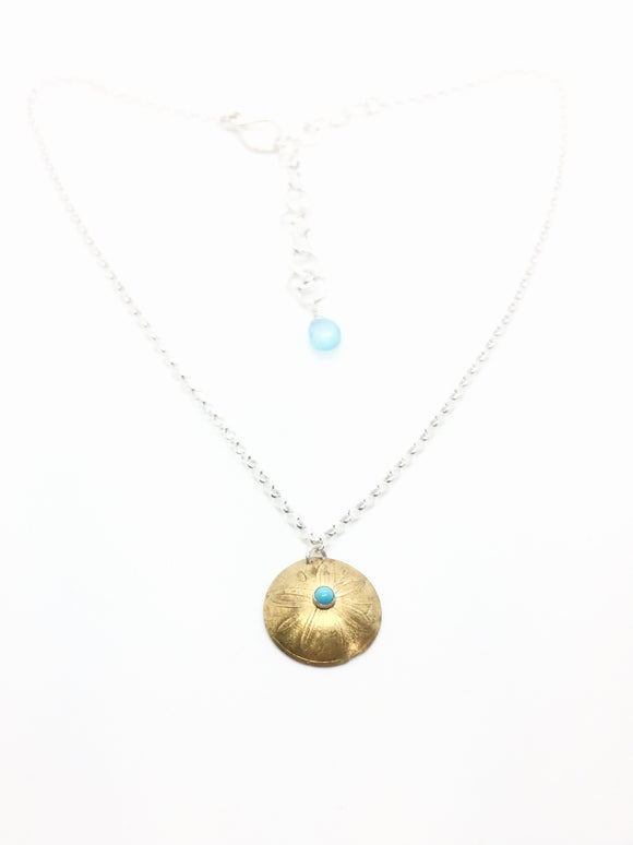 Brass Shield Pendant with Turquoise, Chalcedony Chain Accent, & Sterling Silver Adjustable Chain