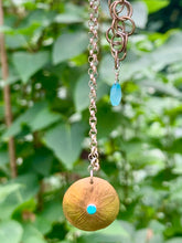 Load image into Gallery viewer, Brass Shield Pendant with Turquoise, Chalcedony Chain Accent, & Sterling Silver Adjustable Chain