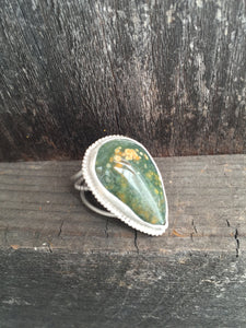 Ocean Jasper Statement Ring in Sterling Silver, Size 7.5