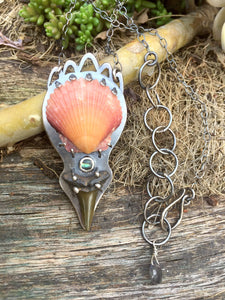 One of a Kind Scallop Shell, Abalone, Shark Tooth, & Labradorite Mermaid Pendant Necklace in Sterling Silver