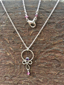 Sterling Silver, Amethyst, & Pink Tourmaline Necklace