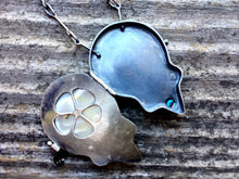 Load image into Gallery viewer, Sterling Silver Abalone and Fossilized Shark Tooth Locket with Moss Aquamarine Accent