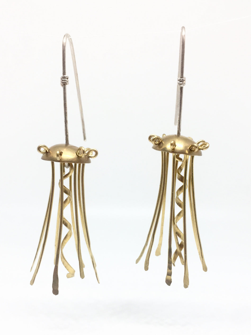 Brass Jellyfish Earrings with Sterling Silver Earwires