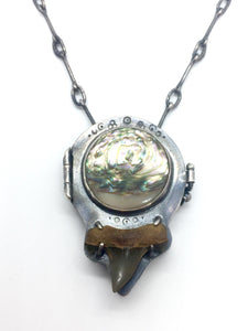 Sterling Silver Abalone and Fossilized Shark Tooth Locket with Moss Aquamarine Accent