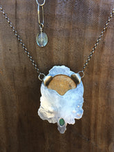 Load image into Gallery viewer, Fossilized Sea Urchin & Turquoise Pendant Necklace in Sterling Silver